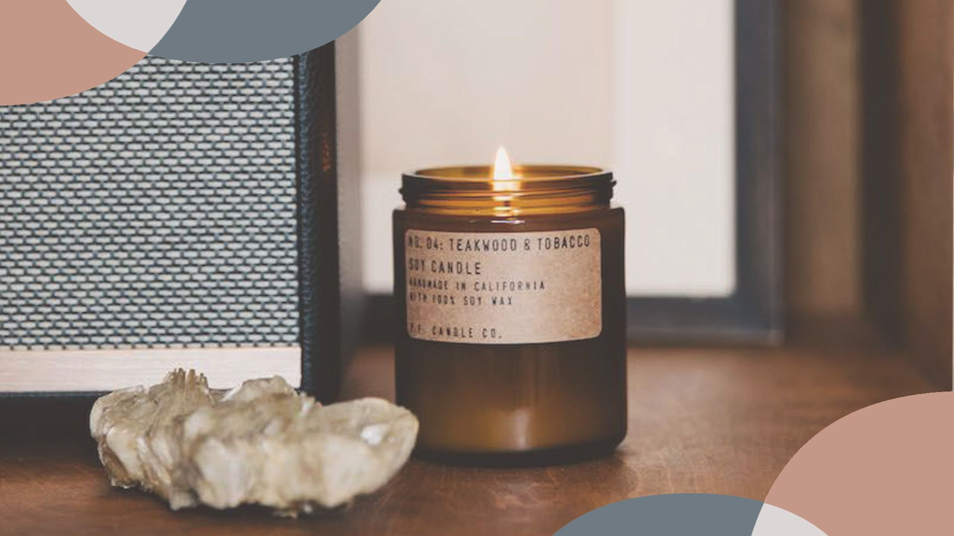 P.F. Candle Co.'s Teakwood and Tobacco candle ($20)